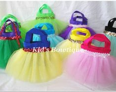 Set of 6 Party Favor Tutu Bags - Add to your Disney Princess Themed Birthday Party - princess gift bags
