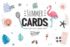 Summer cards, calendars, typography by Ruslana Vasiukova on @creativemarket