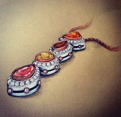 Necklace with gem stones - colour pencil