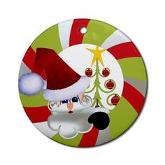 Cute Santa Christmas Tree Ornament (Round)