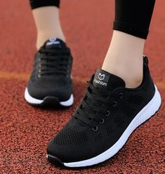 2020 Women Shoes Flats Fashion Casual Ladies Walking Woman Lace-Up Mesh Breathable Female Sneakers Zapatillas Mujer Feminino Sneakers Mode, Casual Sneakers, Sneakers Fashion, All Black Sneakers, Casual Shoes, Fashion Shoes, Women's Casual, Comfortable Sneakers, Casual Wear