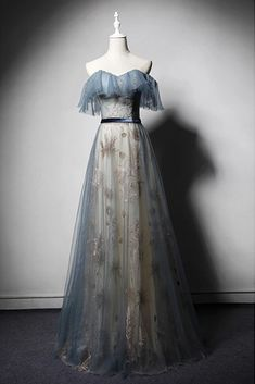 Blue Embroidery Tulle Strapless Lace Up Long Senior Prom Dress, Formal Dress With Sleeves Source by bkettani Dresses Senior Prom Dresses, Prom Dresses Blue, Women's Dresses, Evening Dresses, Wedding Dresses, Prom Night Dress, Summer Dresses, Dress Prom, Dance Dresses