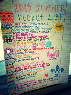 My bucketlist. Summer2013. Im ready for you...except some things like...ya know...skinny dipping... :)
