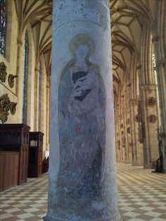 Our Lady in a column from the Münster church. Ulm, county Alb-Donau