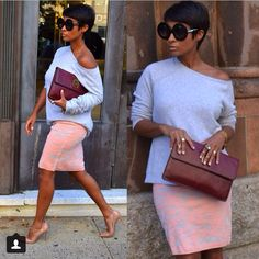 Street Style Chic   Especially love the shades and the clutch!