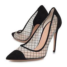 Buy Kurt Geiger Sharkie Leather Stiletto Court Shoes, Black Online at johnlewis.com