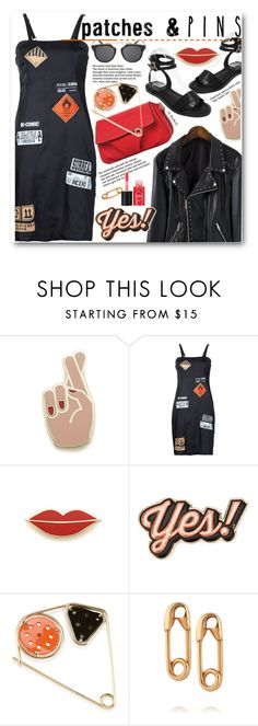 """""""Patch It, Pin It, Perfect!"""" by beebeely-look ❤ liked on Polyvore featuring Georgia Perry, Kokon To Zai, Anya Hindmarch, Loewe, IaM by Ileana Makri, sammydress, pin, blackoutfit, patch and patchesandpins"""