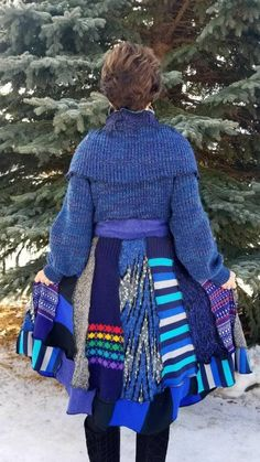 Upcycled Sweater Coat in Royal Blues and More. This Beauty Comes with an Matching Over the Head Ponchette.. to Keep You Extra Warm and Chic!! Button Front and Tie Closure. Large-ExLarge 12-18