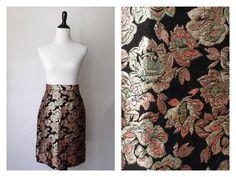 Vintage Floral Pencil Skirt | Vintage Skirt | Pink Metallic Skirt | Small Pencil Skirt
