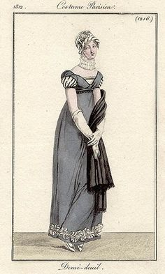 Half mourning gown, clearly labelled as such for once! 1812 Costume parisien