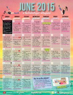 Enter into the June Workout Calendar. start another month strengthening your  body! Now more than ever getting through those workouts with less and less effort.