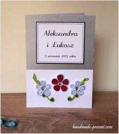 Ręcznie wykonana kartka ślubna quilling róż i biel