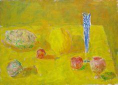 Rafael Wardi: Blue bottle, 1961 Yellow Art, Mellow Yellow, Blue Bottle, Stars At Night, Vincent Van Gogh, Finland, Still Life, Modern Art, Art Pieces