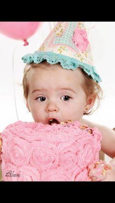 1st bday hat and photo smash cake