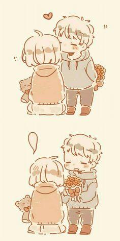 ┗┃kisawa┃┓【sundo ni naru】『alice cafe』●F. Cute Chibi Couple, Cute Couple Comics, Couples Comics, Kawaii Anime, Cute Anime Chibi, Cute Couple Drawings, Cute Drawings, Cute Romance, Kawaii Doodles