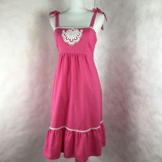 Lily Pulitzer Womans Size 10 Dress Sundress Dark Pink Tie Straps Linen Blend  #LillyPulitzer #Sundress