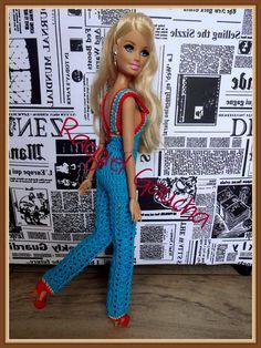 #Overalls #Macacão #Crochet #Barbie #Doll #Raquel Gaucha