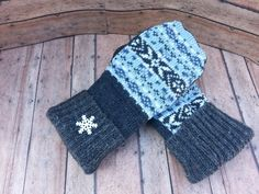 New to KatesHandiwork on Etsy: sweater mittens upcycled sweater mittens recycled sweater mittens ladies mittens handmade mittens warm mittens Blue and gray snowflake (25.00 USD)