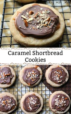 Caramel Shortbread Cookies with shortbread cookie, caramel, melted chocolate chips and pretzels. Delicious #cookie #recipe