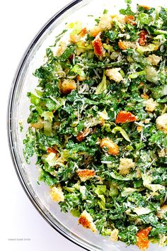 Kale Caesar Salad -- made with a lighter and delicious lime Caesar dressing | gimmesomeoven.com