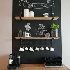 Coffee corner with chalkboard wall and wooden shelf with belts. Coffee Bar Home, Home Coffee Stations, Coffee Corner, Coffe Bar, Chalkboard Wall Bedroom, Deco Marine, Kitchen Colour Schemes, Wooden Shelves, Apartment Kitchen
