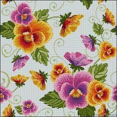 Cross stitch pattern Pillow Pansies от TatyankamkStitch на Etsy, $11.00