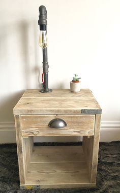 Reclaimed Scaffold Board Side Table with Industrial Pipe Light Fitting