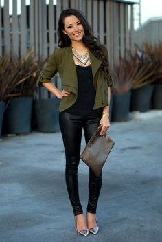 layered necklace with military blazer and leather leggings