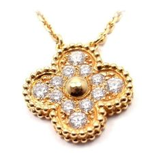 Pre-owned Van Cleef & Arpels Alhambra 18K Yellow Gold Diamond Pendant... ($6,950) ❤ liked on Polyvore featuring jewelry, necklaces, diamond necklace, 18k gold pendant, 18 karat gold necklace, 18k gold necklace and diamond pendant necklace