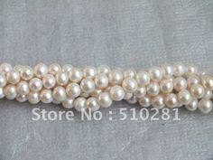 DIY jewelry AAA+++ best qaulity 6-7mm white 10pcs 16 inch strand round freshwater pearl strand US $123.50