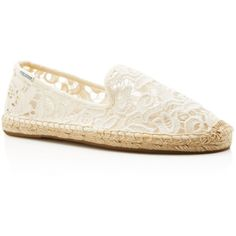 Soludos Lace Smoking Slipper Espadrille Flats ($80) ❤ liked on Polyvore featuring shoes, ivory, lace shoes, lace flats, ivory shoes, ivory lace shoes and lace flat shoes