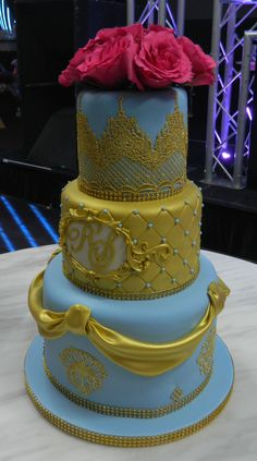 Blue and gold wedding cake - for the Grooms celebrations