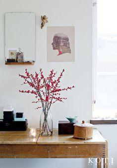 Ilex eli Japanin talvimarja on näyttävä ja tuoksuton vaihtoehto perinteisen joulukukan sijaan. Koti ja keittiö, kuva Kirsi-Marja Savola.