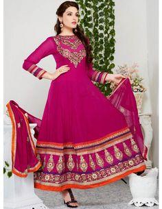 Miraculous Georgette Anarkali Suit http://www.bharatplaza.com/womens-wear/salwar-kameez/designer-suits.html