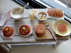 Dollhouse miniature making pancakes by Kimsminibakery on Etsy https://www.etsy.com/listing/279200610/dollhouse-miniature-making-pancakes