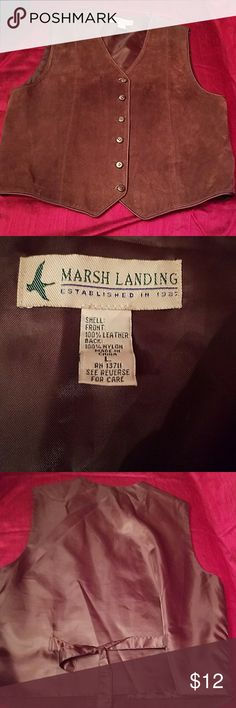Men's Marsh Landing brown suede vest. Size L EUC brown vest. Tie back.  Some slight spots seen on pictures. Marsh Landing Suits & Blazers Vests