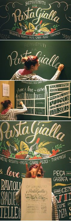 Cristina Pagnoncelli :: Decorative illustration done in chalk Italian restaurant La Pasta Gialla. ( ParkShopping Barigüi - Curitiba, Brazil ) [ https://www.typographyserved.com/gallery/La-Pasta-Gialla/20322053 ]