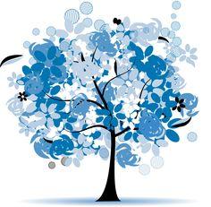 可愛い花のイラスト-冬の樹木・青白水色