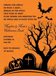 sinister couple fall halloween invitations