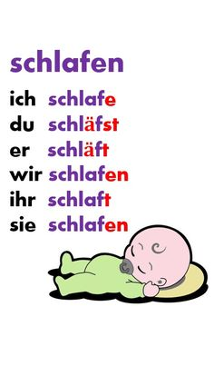 sleep = to sleep german verb - German Language Study German, German English, German Grammar, German Words, German Resources, Deutsch Language, Learning Languages Tips, Germany Language, German Language Learning