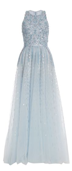 Monique Lhuillier Iridescent Blue Embroidered Tulle Gown