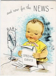 Vintage baby announcement card