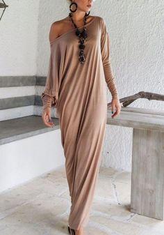 Khaki Irregular Draped Round Neck Islamic Muslim Abaya Hijab Maxi Dress