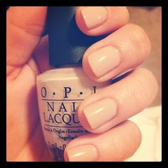 """I bought the prettiest neutral shade of nail polish. It's """"OPI"""" nail polish that's called, """"Samoan Sand""""."""