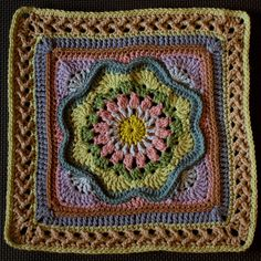 For my Whispers of Spring Sampler. Using the Canada Goose block border. This is such a pretty, floral pattern, and it has an interesting construction. The separated corners make more ends to weav. Crochet Mandala Pattern, Crochet Lace Edging, Crochet Blocks, Granny Square Crochet Pattern, Crochet Flower Patterns, Crochet Stitches Patterns, Crochet Squares, Crochet Designs, Knitting Patterns