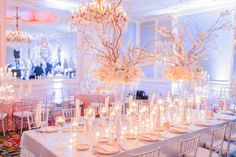 Wedding Reception Decorations in Rose Quartz and Serenity blue. Long Wedding Reception Tables, Wedding Arch Rustic, Wedding Table, Wedding Ideas, Wedding Trends, Wedding Planning, Serenity Color, Rose Quartz Serenity, Wedding Day Itinerary
