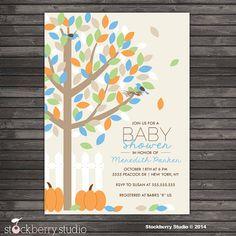 Fall Baby Shower Invitation Printable  Autumn by stockberrystudio