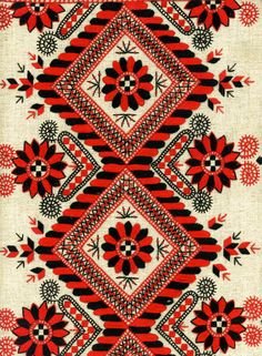 Motifs Textiles, Textile Patterns, Textile Design, Textile Art, Print Patterns, Ethnic Patterns, Geometric Patterns, Russian Embroidery, Folk Embroidery