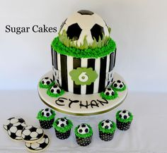 Ethan's Soccer Party by Sugar Cakes Linda Knop Soccer Ball Cake, Soccer Party, Soccer Cakes, Soccer Birthday Cakes, Football Birthday, Football Cakes For Boys, Sports Themed Cakes, Sport Cakes, Decoration Originale