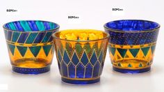 Handpainted decorative glass candle holders will provide a colorful glow to your dinner table or anywhere you place them. Glass Painting Patterns, Glass Painting Designs, Stained Glass Paint, Stained Glass Designs, Hand Painted Wine Glasses, Bottle Painting, Glass Candle Holders, Decoration, Glass Art